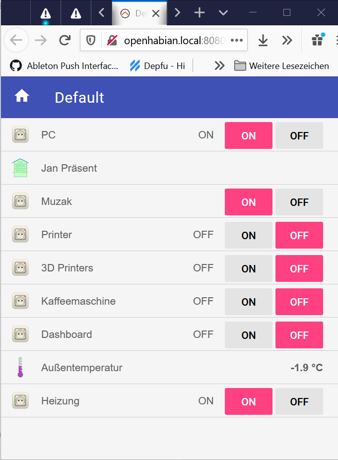 A screenshot of the basic UI of OpenHAB